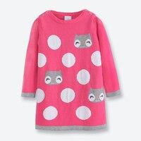 Fall Winter Girl Sweater Dress Long Sleeve O Neck Kids Pullover Knitted Casual Cartoon Cat Girls