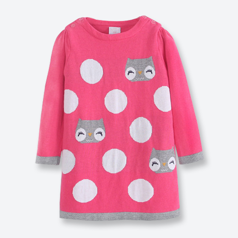 Fall Winter Girl Sweater Dress Long Sleeve Kids Pullover Knitted Casual Cartoon Cat Girl Sweater Dress Children Clothes 2-7 Yrs baby girls knitted sweater clothing dress 2017 autumn winter new long sleeve cute cartoon pattern girl dress children clothes