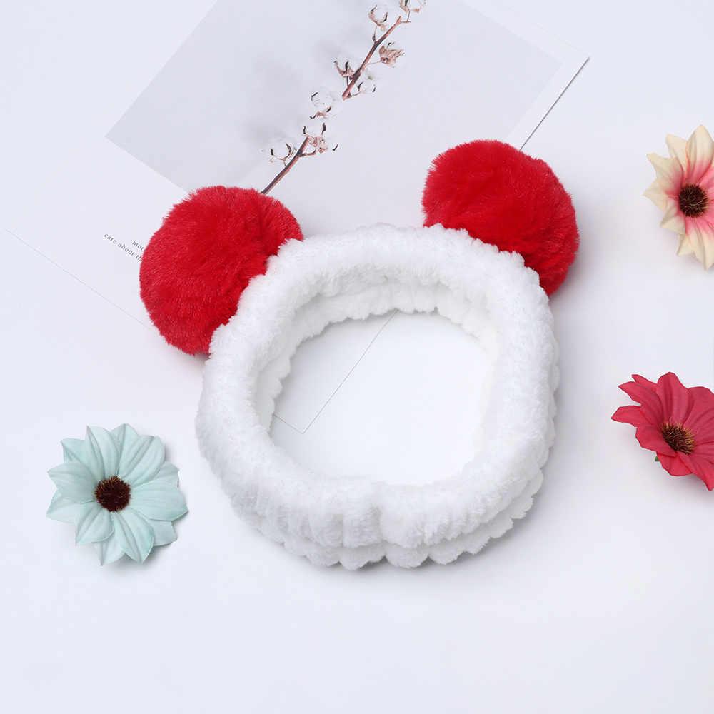 HOOH 2019 Новая эластичная Милая панда ухо Мягкая флисовая повязка для женщин Макияж душ стирка спа для лица маска на голову обертывания