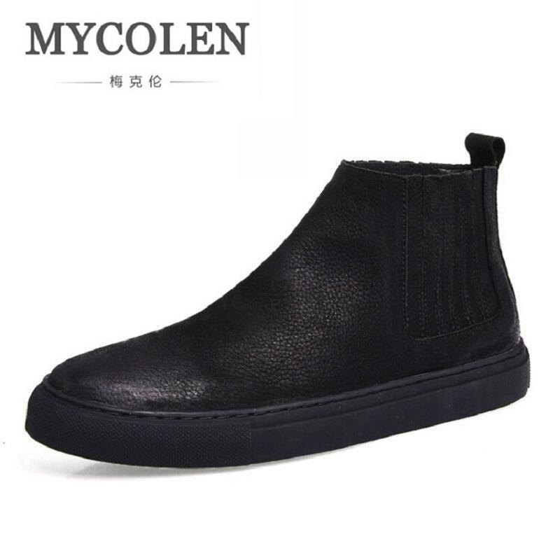 MYCOLEN Winter Boots Men Cow Leather Chelsea Boots Winter Men Shoes Winter High Quality Cowhide Black Boots Botas Hombre mycolen new autumn winter men black casual shoes men high tops fashion hip hop shoes zapatos de hombre leisure male botas
