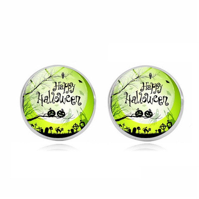 US $0 99 |New Arrival Witch in the Moon Earrings Handmade Glass Dome  Halloween Witch Full Moon Stud Earrings Wholesale-in Stud Earrings from  Jewelry &