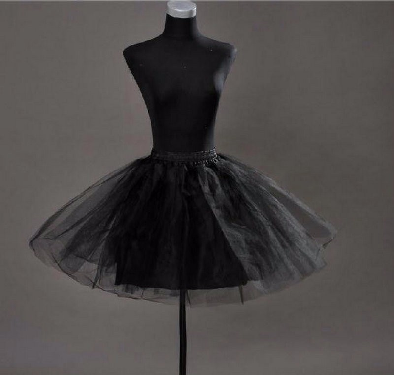In Stock Ladies Girls White Black Tulle 3 Layer Underskirt  Short Knee Length Crinoline Rockabilly Petticoat Fast Shipping 2015