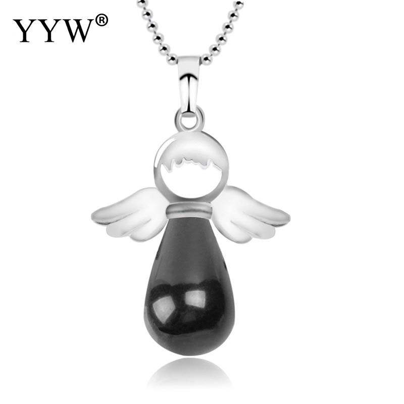 YYW Natural Stone Angel Wings Pendant Necklace Pink Quartz Female Jewelry Gift Onyx Silver-color Water Drop Pendants