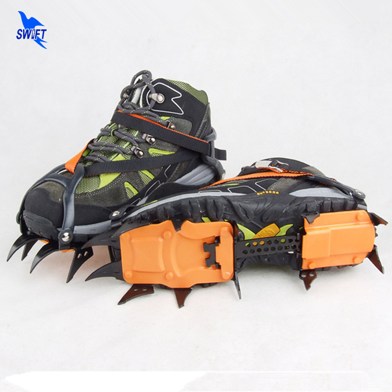 1 Pair Professional Long 12 Teeth Claws Climbing Enhanced Manganese Steel Ice Crampons Non-slip Hiking Ski Ice Snow Grippers round snow ice climbing mountaineering shoes crampons orange pair