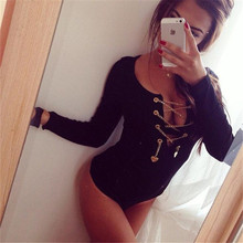 Metal Chain Rock Style Sexy Long Sleeve Deep V Neck Rompers Women Black Jumpsuits Playsuit Bodycon One Piece Jumpsuit Overalls