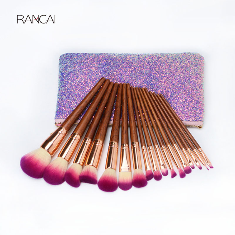 17pcs Luxury Makeup Brushes Set Mahogany Powder Blusher Eyeshadow Lip Brush Pincel Maquiagem Cosmetic Tool With Glitter Bag aquarium liquid glitter brush set mermaid makeup brushes bling bling glitter handle make up brush kit pincel sereia maquiagem