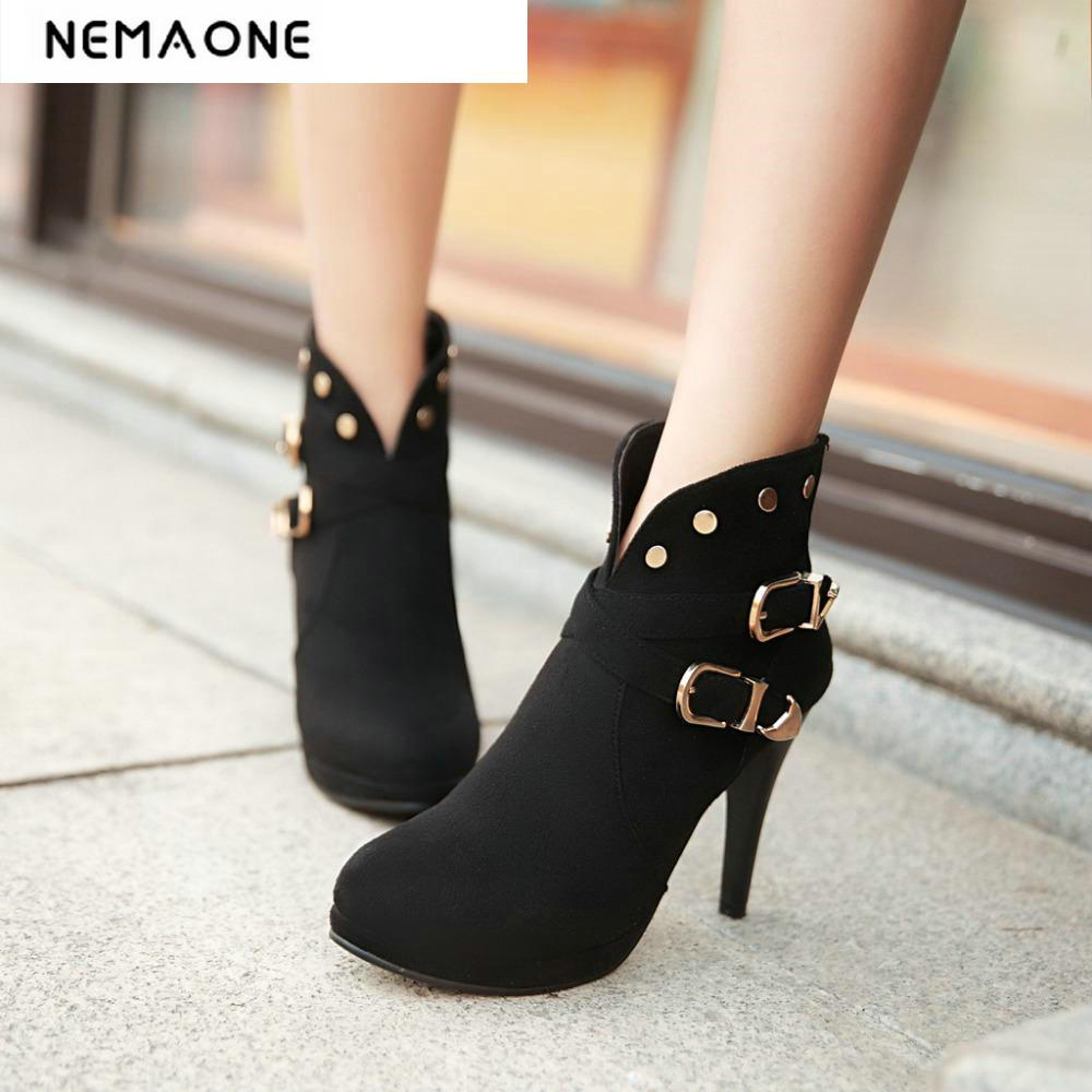 2018 women ankle boots Round Toe Women autumn Boots british style thin high Heels boots Shoes woman large size 34-43 morazora fashion punk shoes woman tassel flock zipper thin heels shoes ankle boots for women large size boots 34 43