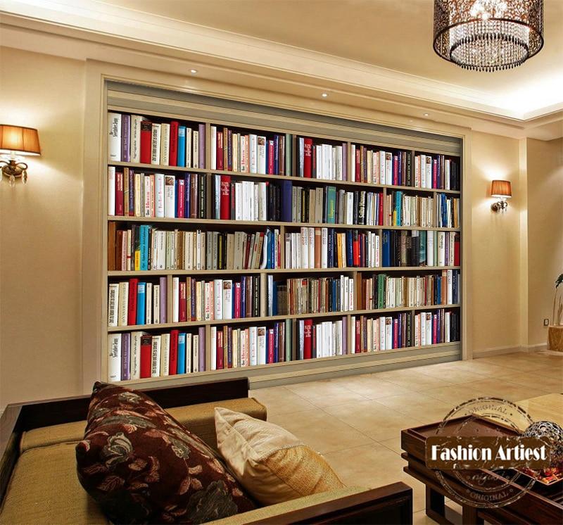 Custom modern 3d book wallpaper mural bookshelf book for Colocar papel mural
