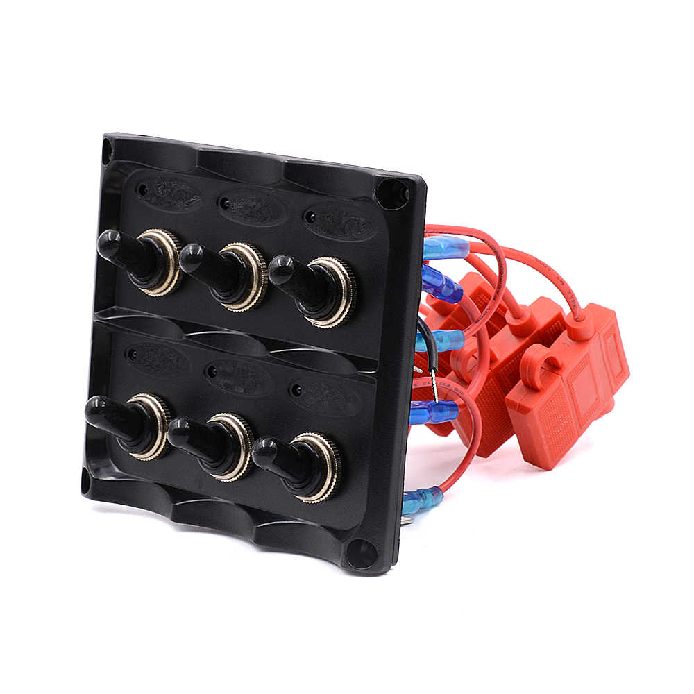 automotive 12v 24v waterproof 6 gang toggle switch panel fuse box led light indicators  [ 1000 x 1000 Pixel ]