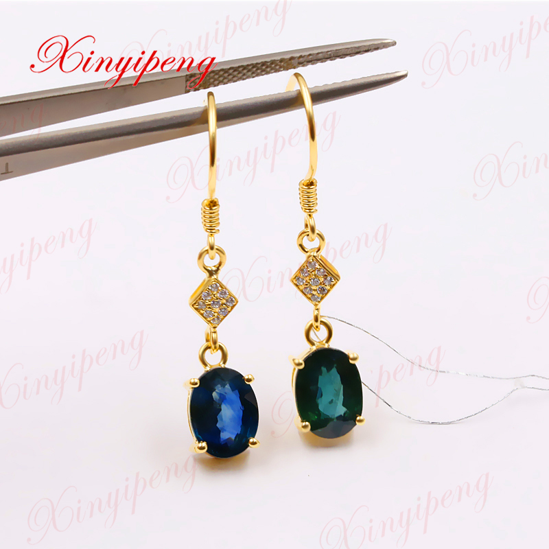 цена на Xinyipeng 18K yellow gold inlaid with natural sapphire earrings women on the anniversary, the style is generous.