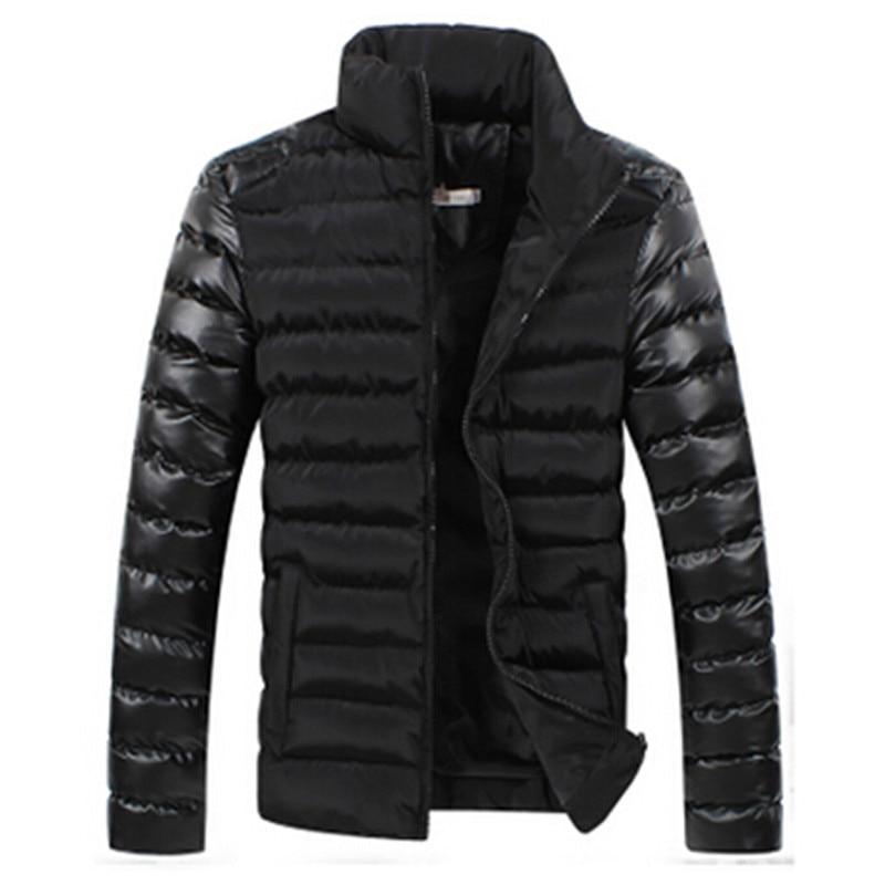 Kış 2016 erkek butik pamuk kalınlaşma sıcak moda deri dikiş ayakta yaka eğlence ceket ceket Erkek rahat ceket