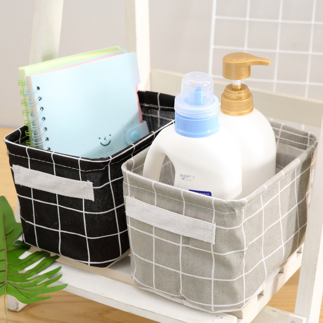 Desktop Storage Box Cute Printing Waterproof Organizer Cotton Linen Sundries Storage Basket Cabinet Underwear Storage Bag