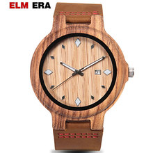 ELMERA Reloj de hombre Men Watches Leather Wood Watch Sports Gifts for Gent 2018 Man Wristwatch Wooden