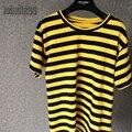 2016 новая мода желтый и черный полосатый топ с коротким рукавом футболки женщин camisetas подростков футболки женщины топы