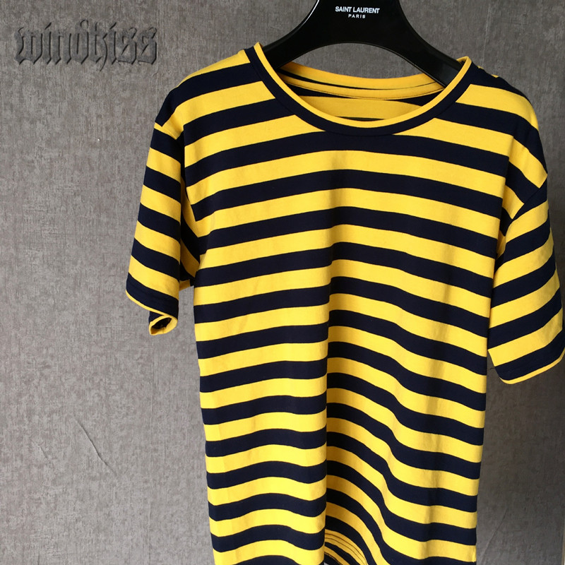 2017 new fashion yellow and black striped top short sleeve for Best striped t shirt