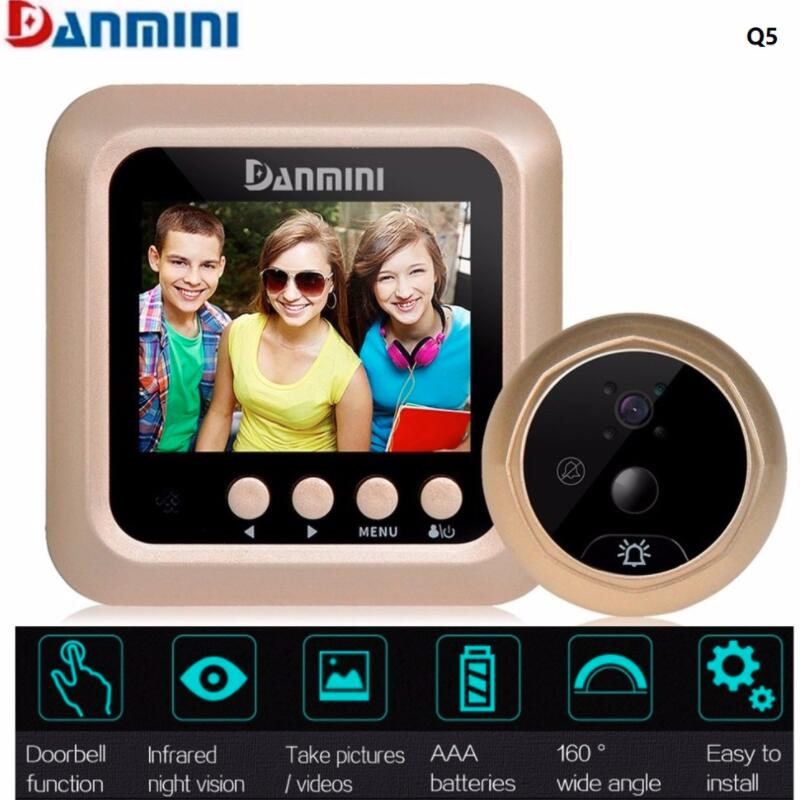 Multifunction 2.4 Inch TFT Color Screen Visual Doorbell Night Vision Motion Detection No Disturb Viewer+2.0MP HD Camera Peephole danmini q5 2 4 wireless tft color screen display night vision camera video peephole camera visual doorbell no disturb viewer