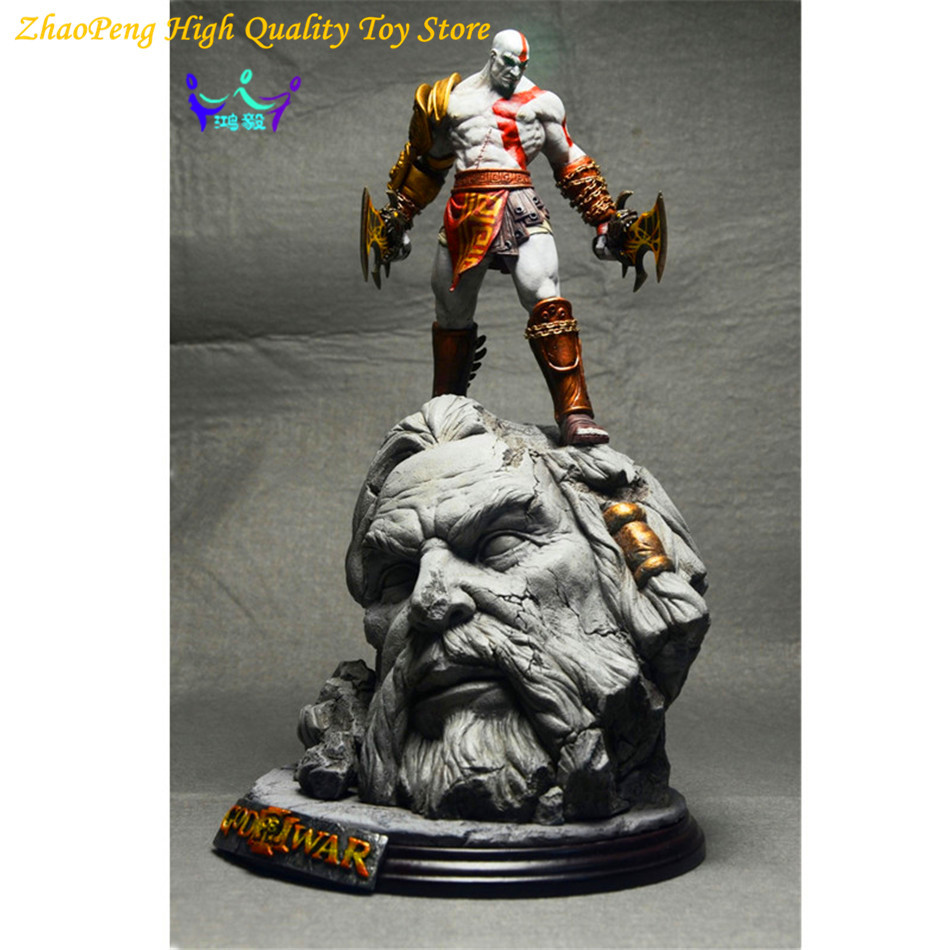 New God Of War 3 Kratos on Zeus Head GK Resin FIGURE Statue Fans Collection 26cm RETAIL BOX FB216 god of war statue kratos ye bust kratos war cyclops scene avatar bloody scenes of melee full length portrait model toy wu843