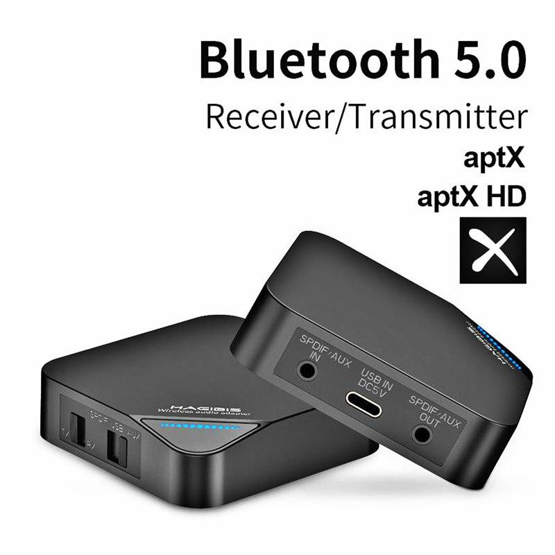 Transmetteur récepteur Bluetooth 5.0 2 en 1 sans fil aptX HD Audio 3.5mm AUX/SPDIF/adaptateur type-c pour TV/casque/voiture/PC