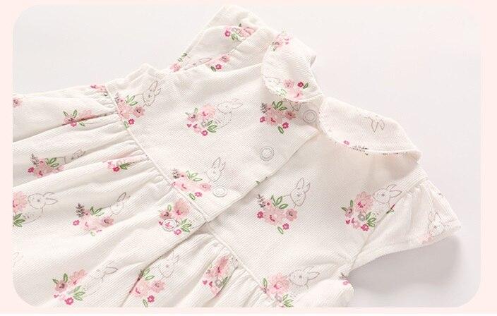 Vlinder New Fashion Baby Girls Botton Spring Autumn Long Sleeves Newborn Outerwear Cute Floral Print Dress 2pcs Infant Set