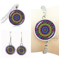 Silver Plated Jewelry Set Om Mandala Choker Necklace Om Henna Bracelet Bangle Glass Dome Round Earring