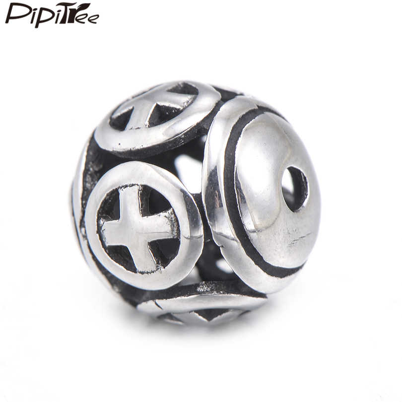 Pipitree, cuentas redondas de acero inoxidable de 10mm, apto para pulsera, collar de estilo Bali, Cruz hueca DIY, espaciador, abalorios, fabricación de joyería