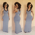 New Plus Size 2016 Summer Women Sexy Long Stripe Dress O neck Sleeveless Slim Package Hip Ankle Length Maxi Tank Dress Vestidos