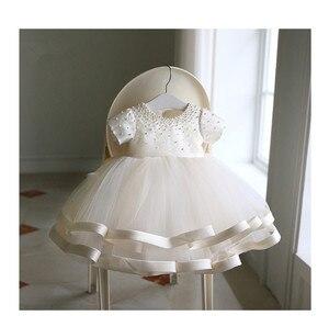 Платья для маленьких девочек с бусинами; платье для первого дня рождения для новорожденных; многослойное фатиновое праздничное платье с ба...