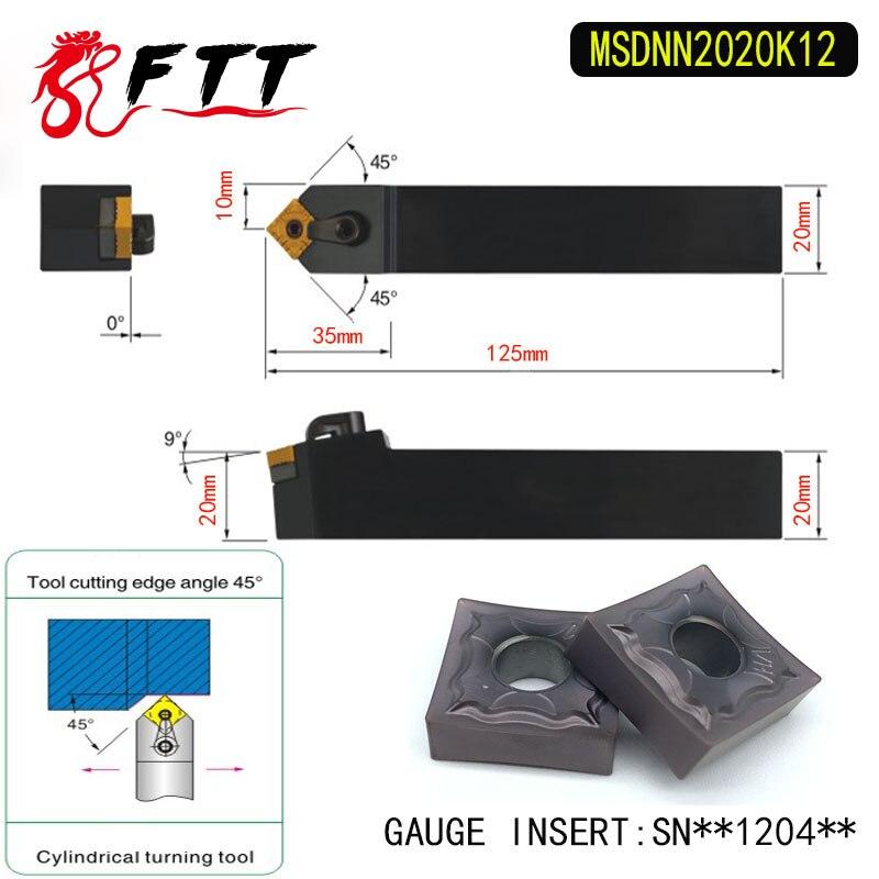 MSDNN2020K12 porte-outil de barre de tournage externe à 45 degrés pour SNMG120404 SNMG120408 utilisé sur la tour à CNC