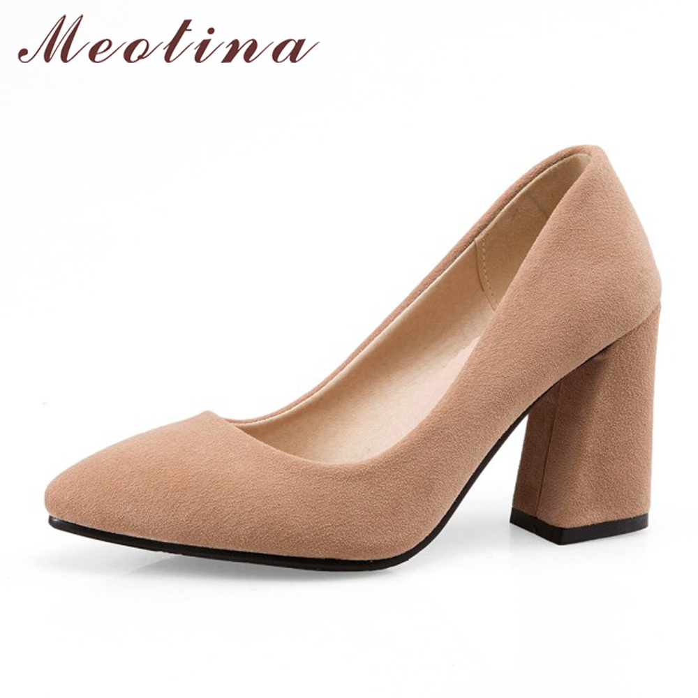 Meotina High Heels Women Pumps Plus size 34-43 Thick Heels Ladies Shoes Autumn Pointed Toe Office Women Work Pumps Yellow Gray meotina high heels shoes women pumps party shoes fashion thick high heels pointed toe flock ladies shoes gray plus size 10 40 43