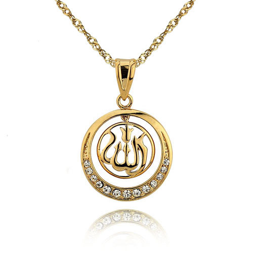 wholesale and retail 24K Gold Plated Allah Pendant Necklace, Free Shipping and men women Necklace with free chain gift #PE100584