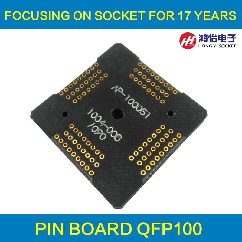 QFP100 LQFP100 TQFP100 0.5 Pin Board Pitch 0.5mm For QFP100 Clamshell Test Socket Interposer Board Adapter Plate Plug pin