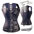 Dominatrix Steampunk Corset Black Leather Burlesque Clubwear Lace up Boned with Chains Gothic Carnival Clothing Fetish Tops 6XL