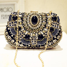 Fashion Women Evening Bags Rhinestones Bead Crystals Day Clutches Female Wedding Bridesmaid Party Banquet Charm Chains Handbag