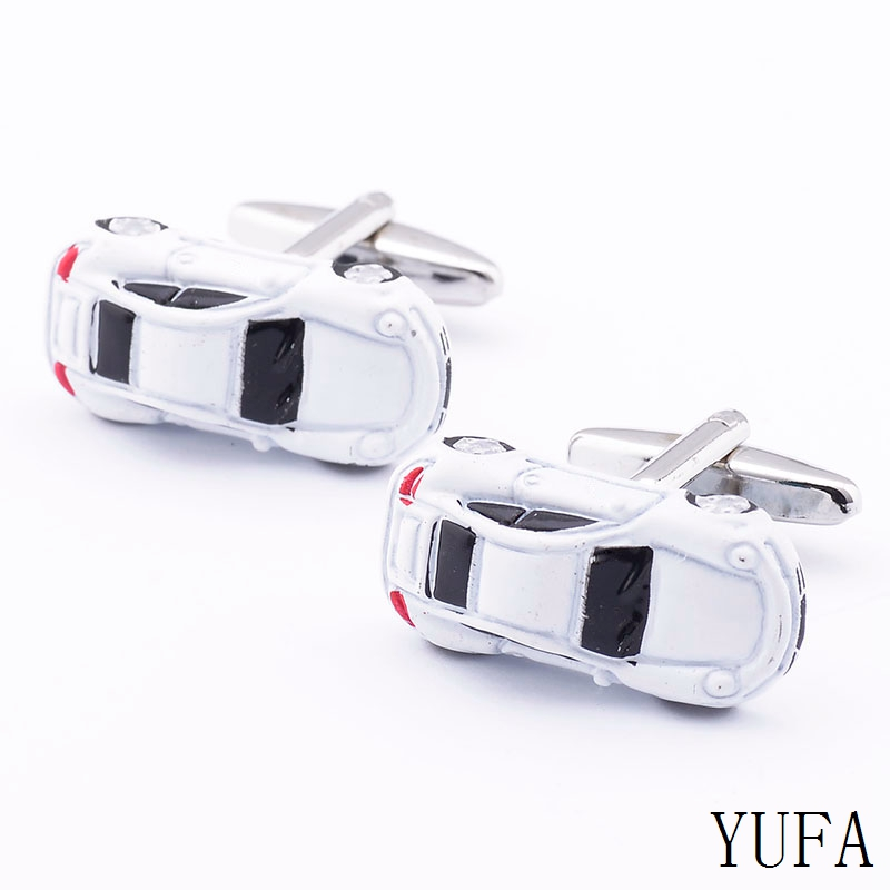 Free shipping Car Cufflinks white color peace bus cufflinks copper material whoelsale&retail