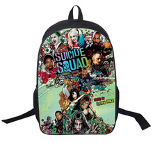 цены на 2017 New Women Bags movie Suicide Squad Backpack Students School Bag For Girls Boys Backpacks mochila Hot custmiza  в интернет-магазинах