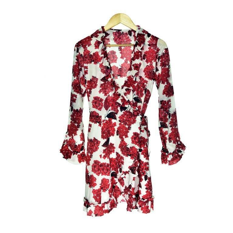 Women Dress 2019 Autumn and Winter New Floral Print Ruffled Wrap Dress