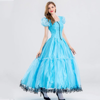 Alice In Wonderland Cosplay Dress Quess Princess Female Sky Blue Sexy Dress Women Prince Uniform Costumes For Role Playing