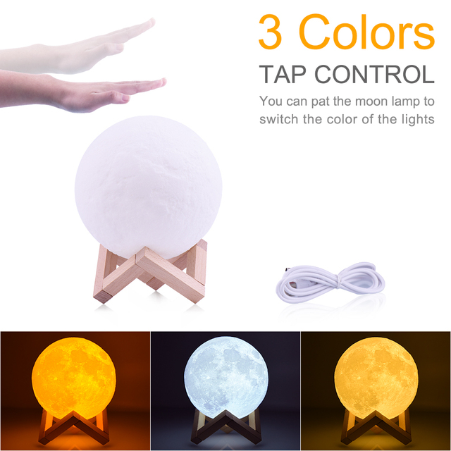 Rambery moon lamp 3D print night light Rechargeable  3 Color Tap Control lamp lights 16 Colors Change Remote LED moon light gift 1