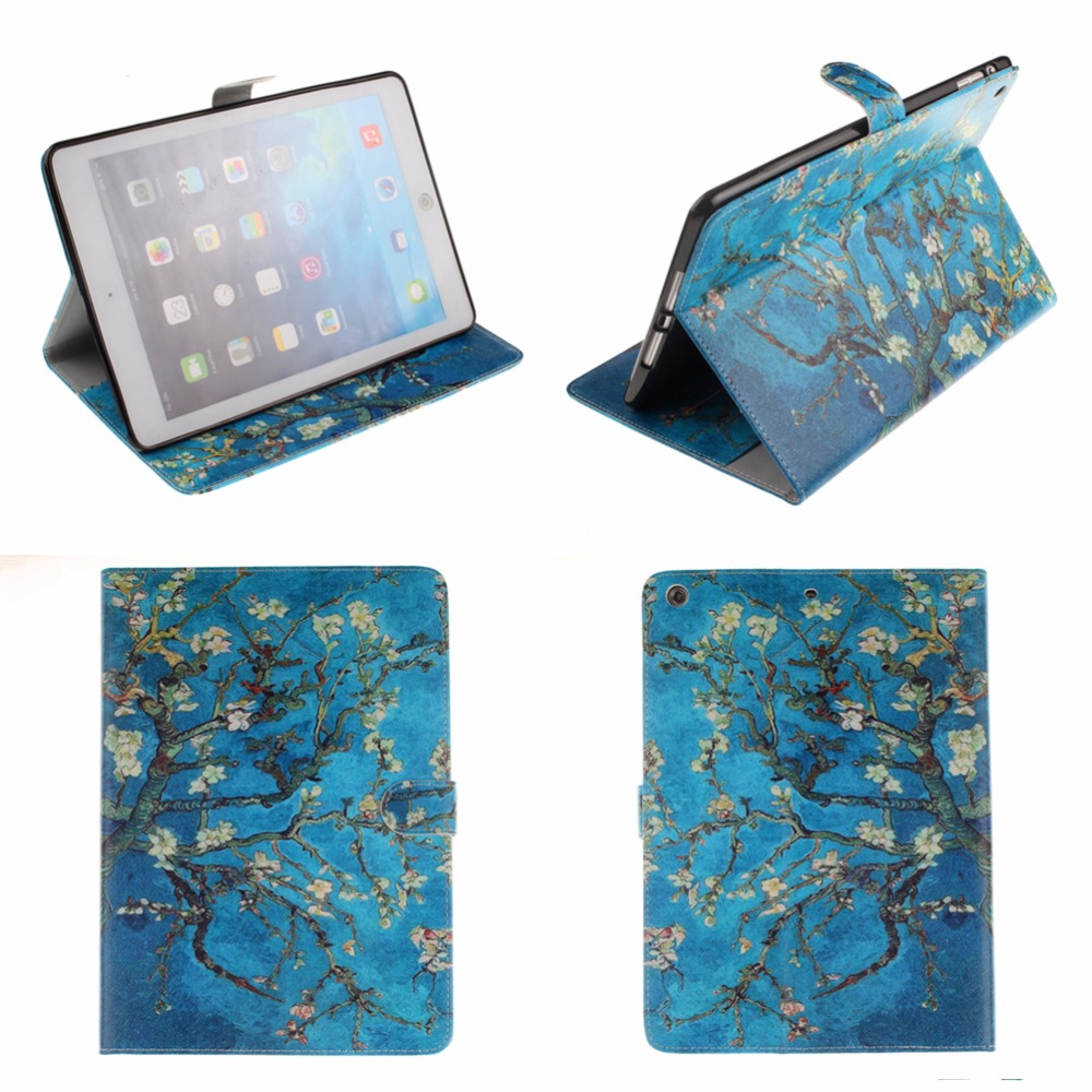 Van gogh Flip PU Leather Case Cover for Apple iPad air 2 iPad mini 4 iPad 2 3 4 5 6 Case Tablet Smart Cover With Card Holder #A