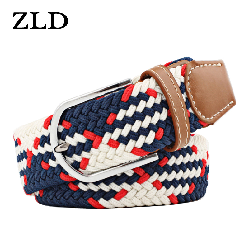 ZLD Hot Colors Men Women Casual Knitted Pin Buckle Belt Woven Canvas Elastic Stretch Belts Plain Webbing 2020 Fashion 105-110cm