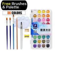 Memoria 36 colores acuarela pintura juegos colores agua profesional para pintura papel arte suministros con paleta de pinceles gratis