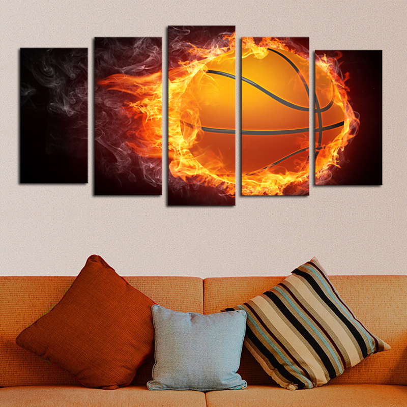 Painting & Calligraphy Spirited New 5 Pieces/sets Canvas Art Canvas Paintings Flame Basketball Living Room Decorations For Home Wall Art Prints Canvas\j0401