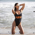 FUEGO Orange Letters Swimsuit Sexy Thong One Piece Funny Swimwear Women Low Back High Cut Monokini Bathing Suit Rompers Bodysuit