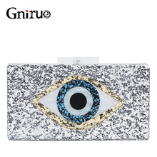 Fashion Brand Acrylic Bag Shiny Eye Evening Clutches Women Chain Shoulder Messenger Bag Sequin Wedding Party Prom Handbags Purse