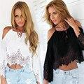 Comercialización caliente Mujer de Encaje blusas tallas grandes damas blusa tops tops de verano de Manga Corta Camiseta Sin Mangas WJul15