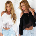 De Marketing Hot Mulheres Lace blusas plus size ladies blusa tops tops de verão T-Shirt de Manga Curta Sem Mangas WJul15