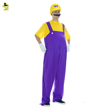 Adult Super Mario Luigi Brothers Plumber Worker Costume Men Jumpsuit Fancy Cosplay Clothes for Cartoon Masquerade role Costumes
