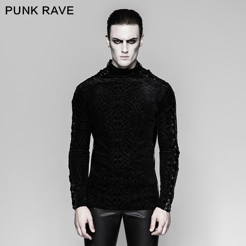 PUNK RAVE homme Punk Rock Personnalité T-shirt Gothique mode Manches Longues décontracté hauts Hommes Personnalité T-shirt D'hiver