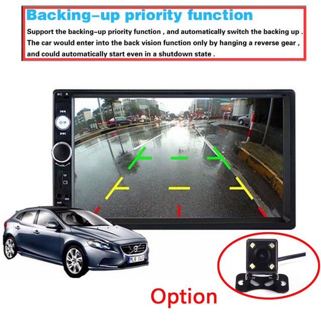 Podofo 2 din car radio 7″ HD Player MP5 Touch Screen Digital Display Bluetooth USB SD Multimedia 2din Autoradio Rear View Camera