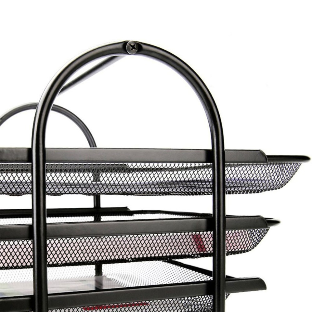 4-Tier File Rack Metal Mesh Letter Tray Scratch-Resistant Stackable Office A4 Paper Organizer Document File Holder U17@Z (4)